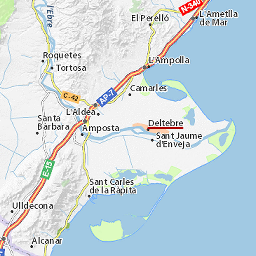 Carte Espagne Delta De Lebre.Location Vacances Appartement Deltebre Plein Centre Du Delta
